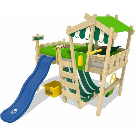 WICKEY Lit enfant, Lit mezzanine Crazy Hutty avec toboggan bleu Lit maison 90 x 200 cm