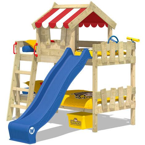 WICKEY Lit enfant, Lit mezzanine Crazy Circus avec toboggan bleu Lit maison 90 x 200 cm