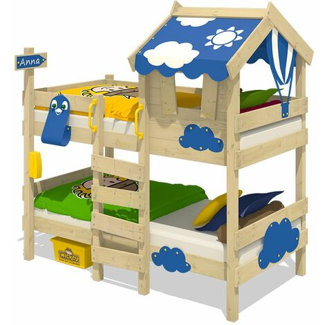 WICKEY Lit enfant, Lit superposé Crazy Daisy avec toboggan bleu Lit en bois 90 x 200 cm