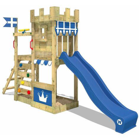 WICKEY Aire de jeux Portique bois CannonFlyer avec toboggan bleu Maison enfant exterieur avec bac à sable, échelle d'escalade & accessoires de jeux