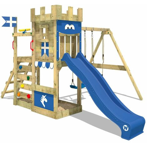 WICKEY Aire de jeux Portique bois RoyalFlyer avec balançoire et toboggan bleu Maison enfant exterieur avec bac à sable, échelle d'escalade & accessoires de jeux