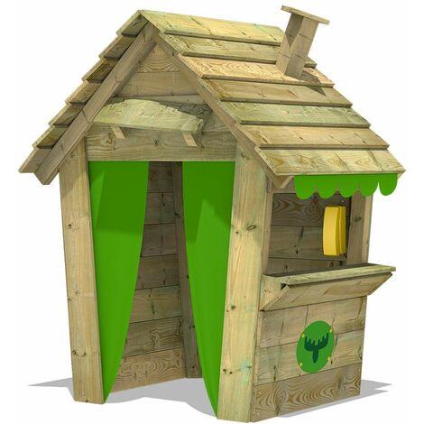 FATMOOSE Cabane de jardin pour enfant PandaPark Pro XXL - Maisonnette en bois, cheminée et comptoir de magasin
