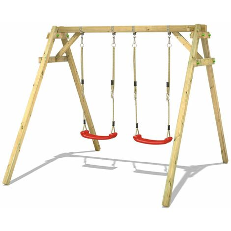 WICKEY Portique balançoire Aire de jeux Smart Move avec extension d'escalade Portique bois pour enfants