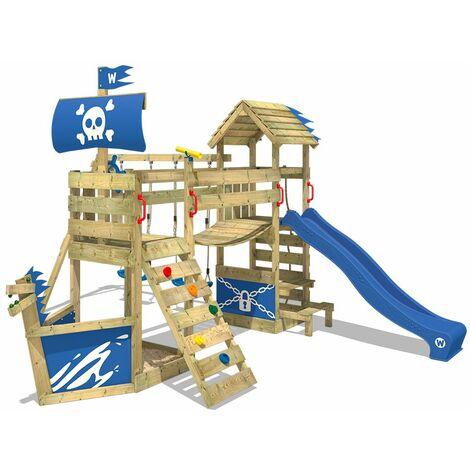 WICKEY Aire de jeux Portique bois GhostFlyer avec balançoire et toboggan bleu Cabane enfant exterieur avec bac à sable, échelle d'escalade & accessoires de jeux