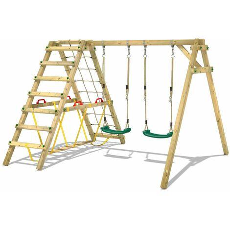 WICKEY Portique balançoire Aire de jeux Smart Hike avec extension d'escalade Portique bois pour enfants