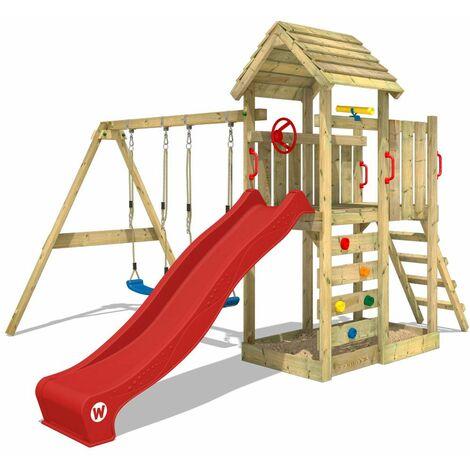 WICKEY Aire de jeux Portique bois MultiFlyer Toit en bois avec balançoire et toboggan rouge Maison enfant exterieur avec toit en bois, bac à sable, échelle d'escalade & accessoires de jeux