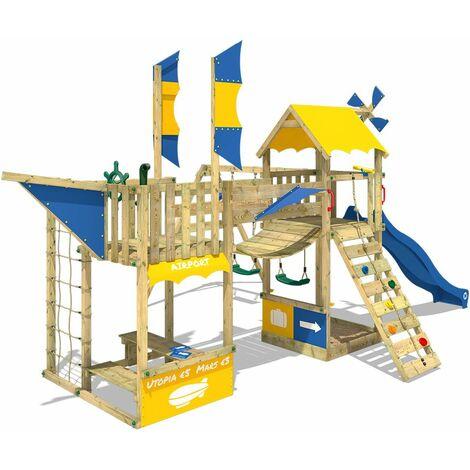 WICKEY Aire de jeux Portique bois Smart Wing avec balançoire et toboggan bleu Cabane enfant exterieur avec bac à sable, échelle d'escalade & accessoires de jeux
