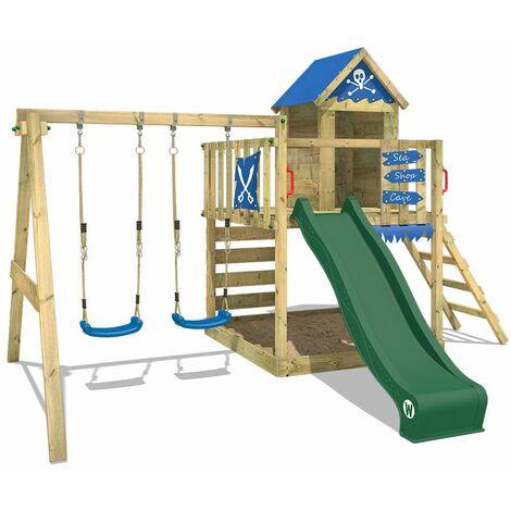 WICKEY Aire de jeux Portique bois Smart Cave avec balançoire et toboggan vert Cabane enfant exterieur avec bac à sable, échelle d'escalade & accessoires de jeux