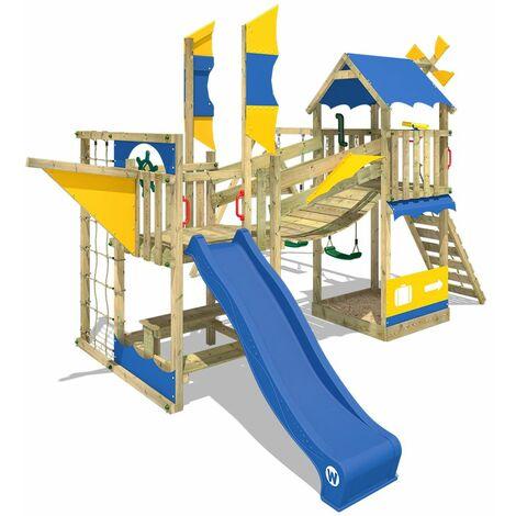 WICKEY Aire de jeux Portique bois Smart Cruiser avec balançoire et toboggan bleu Cabane enfant exterieur avec bac à sable, échelle d'escalade & accessoires de jeux