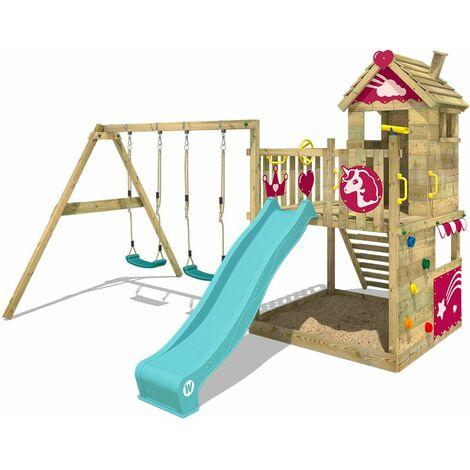 WICKEY Aire de jeux Portique bois Smart Sparkle avec balançoire et toboggan turquoise Cabane enfant exterieur avec bac à sable, échelle d'escalade & accessoires de jeux