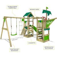 FATMOOSE Aire de jeux Portique bois WaterWorld avec balançoire et toboggan rouge Maison enfant exterieur avec bac à sable, échelle d'escalade & accessoires de jeux