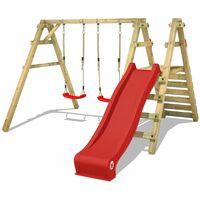 WICKEY Portique balançoire Aire de jeux Sky Slider Prime avec toboggan rouge