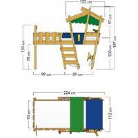 WICKEY Lit enfant, Lit mezzanine Crazy Hutty jaune/vert pomme Lit maison, Lit en bois 90x 200 cm