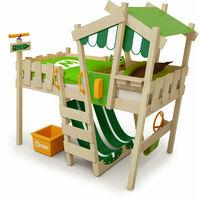 WICKEY Lit enfant, Lit mezzanine Crazy Hutty vert / vert pomme Lit maison, Lit en bois 90x 200 cm