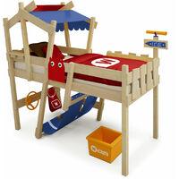 WICKEY Lit enfant, Lit mezzanine Crazy Hutty bleu/rouge Lit maison, Lit en bois 90x 200 cm