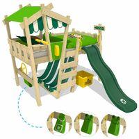 WICKEY Lit enfant, Lit mezzanine Crazy Hutty avec toboggan vert Lit maison 90 x 200 cm