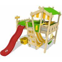 WICKEY Lit enfant, Lit mezzanine Crazy Hutty avec toboggan rouge Lit maison 90 x 200 cm