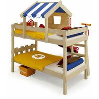 WICKEY Lit enfant, Lit mezzanine Crazy Circus avec toboggan rouge Lit maison 90 x 200 cm
