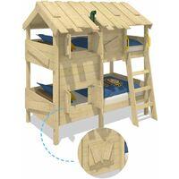WICKEY Lit enfant, Lit superposé CrAzY Creek avec toboggan Lit en bois 90 x 200 cm