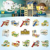 WICKEY Lit enfant, Lit mezzanine CrAzY Lagoon avec toboggan Lit maison 90 x 200 cm