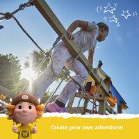 WICKEY Aire de jeux Portique bois TinyLoft avec balançoire et toboggan bleu Maison enfant exterieur avec bac à sable, échelle d'escalade & accessoires de jeux