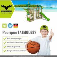 FATMOOSE Aire de jeux Portique bois TreasureTower avec balançoire et toboggan vert pomme Maison enfant exterieur avec bac à sable, échelle d'escalade & accessoires de jeux