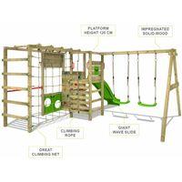 FATMOOSE Aire de jeux Portique bois ActionArena avec balançoire et toboggan vert Échafaudage grimpant avec mur d'escalade & accessoires de jeux
