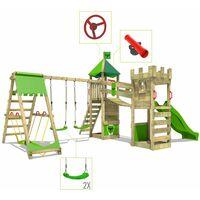 FATMOOSE Aire de jeux Portique bois RiverRun avec balançoire SurfSwing et toboggan vert pomme Maison enfant exterieur avec bac à sable, échelle d'escalade & accessoires de jeux