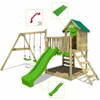 FATMOOSE Aire de jeux Portique bois JazzyJungle avec balançoire et toboggan vert pomme Maison enfant exterieur avec bac à sable, échelle d'escalade & accessoires de jeux