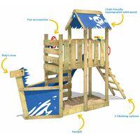 WICKEY Aire de jeux Portique bois SpookyFlyer avec toboggan bleu Cabane enfant exterieur avec bac à sable, échelle d'escalade & accessoires de jeux