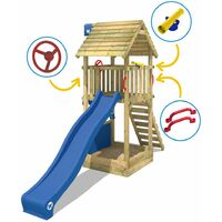 WICKEY Aire de jeux Portique bois Smart Club Toit en bois avec toboggan bleu Maison enfant exterieur avec bac à sable, échelle d'escalade & accessoires de jeux