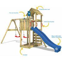 WICKEY Aire de jeux Portique bois Smart Rival avec balançoire et toboggan bleu Maison enfant exterieur avec bac à sable, échelle d'escalade & accessoires de jeux