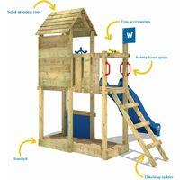 WICKEY Aire de jeux Portique bois Smart Sparrow avec toboggan bleu Maison enfant exterieur avec bac à sable, échelle d'escalade & accessoires de jeux