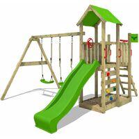 FATMOOSE Aire de jeux Portique bois MagicMango avec balançoire et toboggan vert pomme Maison enfant exterieur avec bac à sable, échelle d'escalade & accessoires de jeux