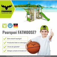 FATMOOSE Aire de jeux Portique bois RebelRacer avec toboggan vert pomme Maison enfant exterieur avec bac à sable, échelle d'escalade & accessoires de jeux