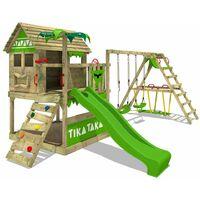 FATMOOSE Aire de jeux Portique bois TikaTaka avec balançoire SurfSwing et toboggan vert pomme Cabane enfant exterieur avec bac à sable, échelle d'escalade & accessoires de jeux