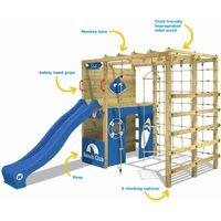 WICKEY Aire de jeux Portique bois Smart Allstar avec toboggan bleu Échafaudage grimpant avec mur d'escalade & accessoires de jeux