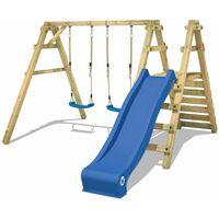 WICKEY Portique balançoire Aire de jeux Sky Slider Prime avec toboggan bleu