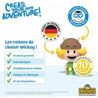 WICKEY Aire de jeux Portique bois Smart Champ avec toboggan bleu Échafaudage grimpant avec mur d'escalade & accessoires de jeux