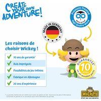 WICKEY Aire de jeux Portique bois MultiFlyer Toit en bois avec balançoire et toboggan orange Maison enfant exterieur avec bac à sable, échelle d'escalade & accessoires de jeux
