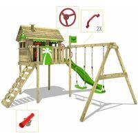 FATMOOSE Aire de jeux Portique bois FunFactory avec balançoire et toboggan vert pomme Maison enfant sur pilotis avec échelle d'escalade & accessoires de jeux