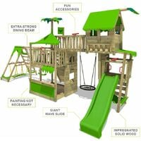 FATMOOSE Aire de jeux Portique bois PacificPearl avec balançoire SurfSwing et toboggan vert pomme Maison enfant exterieur avec bac à sable, échelle d'escalade & accessoires de jeux