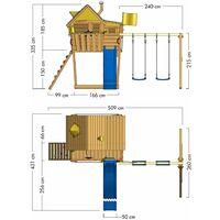 WICKEY Aire de jeux Portique bois Smart Monkey avec balançoire et toboggan vert Maison enfant sur pilotis avec bac à sable, échelle d'escalade & accessoires de jeux