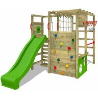 FATMOOSE Aire de jeux Portique bois ActionArena avec toboggan vert pomme Échafaudage grimpant avec mur d'escalade & accessoires de jeux