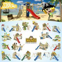 WICKEY Aire de jeux Portique bois Smart Tactic avec toboggan vert Échafaudage grimpant avec mur d'escalade & accessoires de jeux