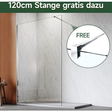 120x200cm Walk in Duschwand, NANO ESG 8mm, Duschtrennwand Glaswand mit Stabilisator