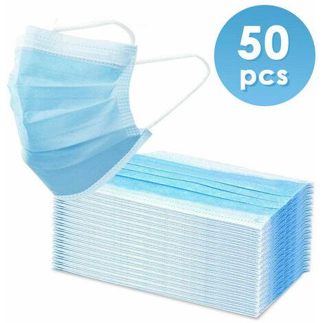 50 Stück Atemschutz Schutzmaske 3-lagig Mundschutz Atem Mund Nasen Schutz