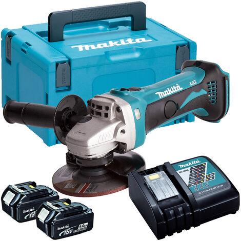 Makita DGA452Z 18V 115mm Angle Grinder with 2 x 5.0Ah Batteries & Charger in Case:18V