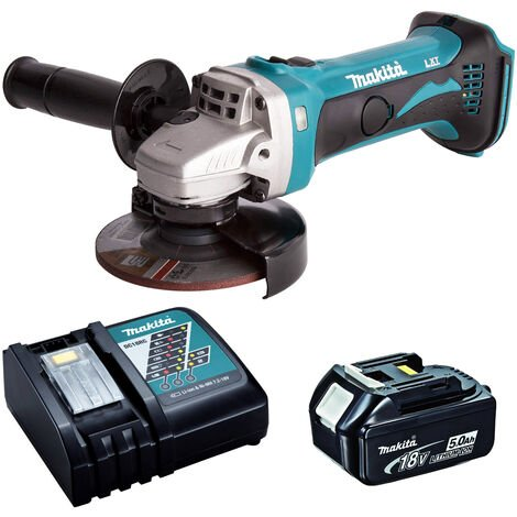 Makita DGA452Z 18V 115mm Angle Grinder with 1 x 5.0Ah Battery & Charger