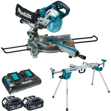 Makita DLS714NZ 36V LXT Brushless Slide Compound Mitre Saw with 2 x 5.0Ah Batteries Charger & Stand